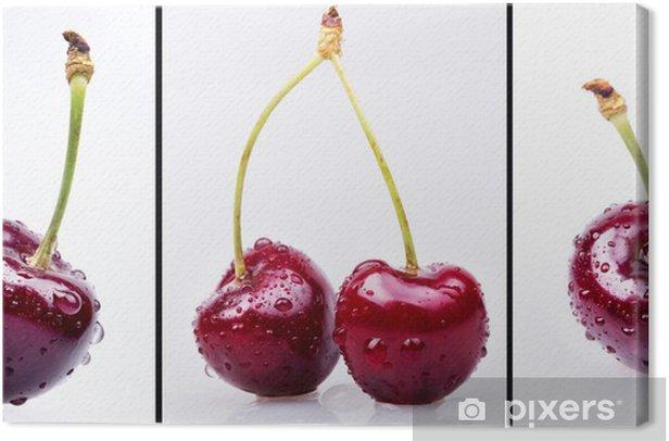 Obraz na płótnie Wiśnie z kropli wody ustawić - Owoce