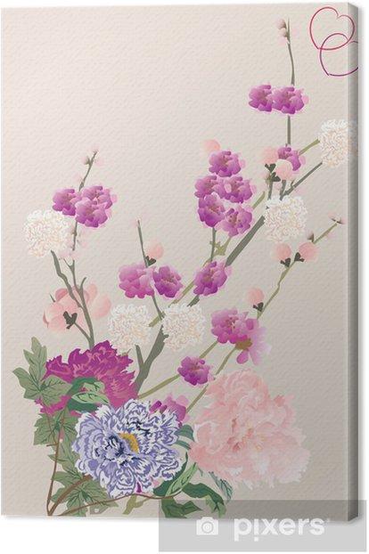 Obraz na płótnie Wiśniowe drzewo kwiaty i piwonia - Kwiaty