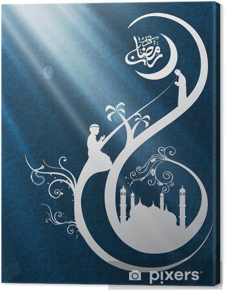 Obraz na płótnie Wiszące lampy arabskie świetlne na tle drewnianych Ramada - Świętowanie