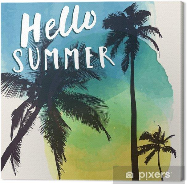 Obraz Na Płótnie Witaj Lato Optymistyczna Letnia Ulotka Plakat Druk Na Tkaninie