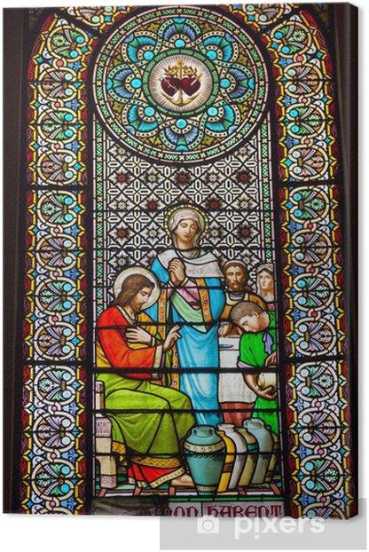 Obraz na płótnie Witraż Jezus Maryja Cana Klasztor Montserrat - Religie