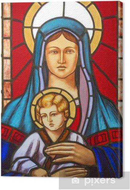 Obraz na płótnie Witraż witraże przedstawiające Maryję i Jezusa dziecka - Religia i kultura