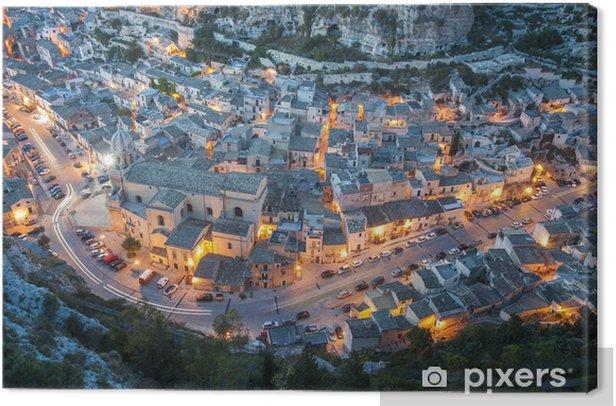 Obraz na płótnie Włochy, Sycylia, krajobraz Scicli o zachodzie słońca - Pejzaż miejski