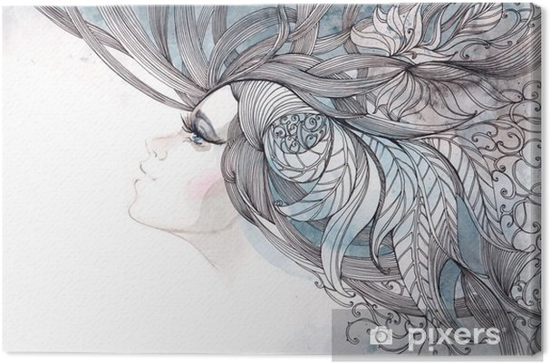 Obraz na płótnie Włosy ozdobną z liści - Moda