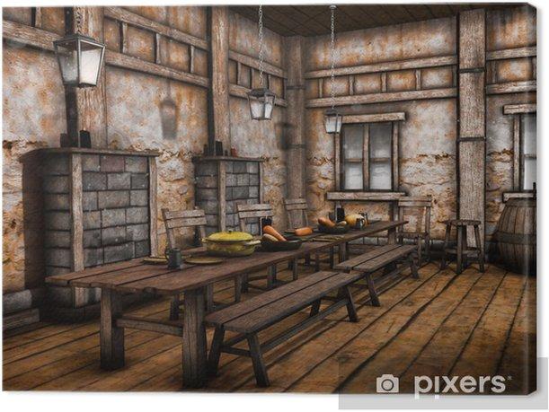 Obraz na płótnie Wnętrze baśniowej średniowiecznej tawerny - Inne