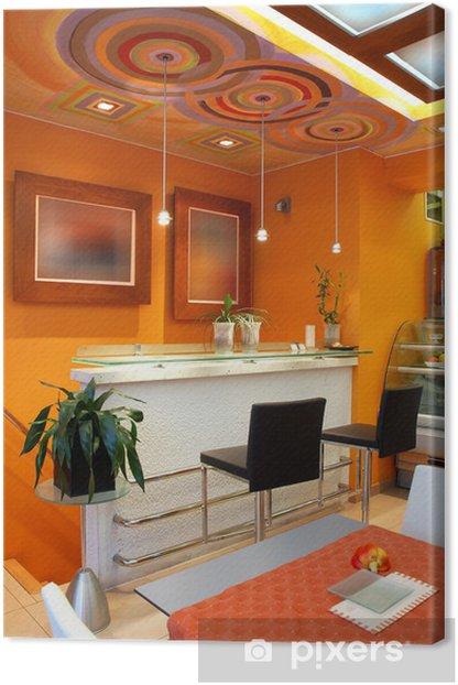 Obraz na płótnie Wnętrze pomarańczowy Cafe Bar - Sklepy