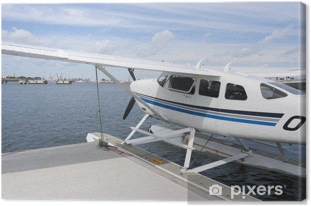 Obraz na płótnie Wodnosamolotów w wodzie w pobliżu nabrzeża parkowanie - Transport powietrzny