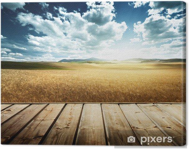 Obraz na płótnie Wood platform i jęczmienia wzgórza Toskania, Włochy - Pory roku