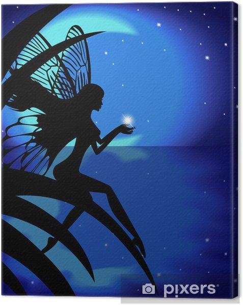 Obraz na płótnie Wróżka dziewczyna trzyma gwiazdy na tle księżyca - Inne uczucia