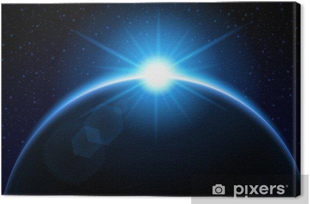 Obraz na płótnie Wschodzące słońce za planetę - niebieski - Przestrzeń kosmiczna