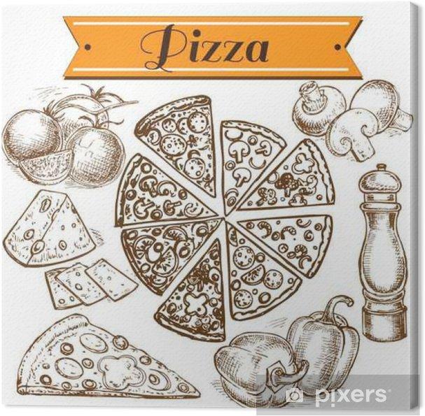Obraz na płótnie Wyciągnąć rękę kolekcja pizzy - Jedzenie