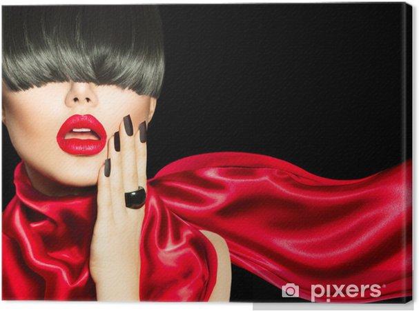 Obraz na płótnie Wysokiej mody dziewczyna z modnych fryzur, makijażu i manicure - Moda