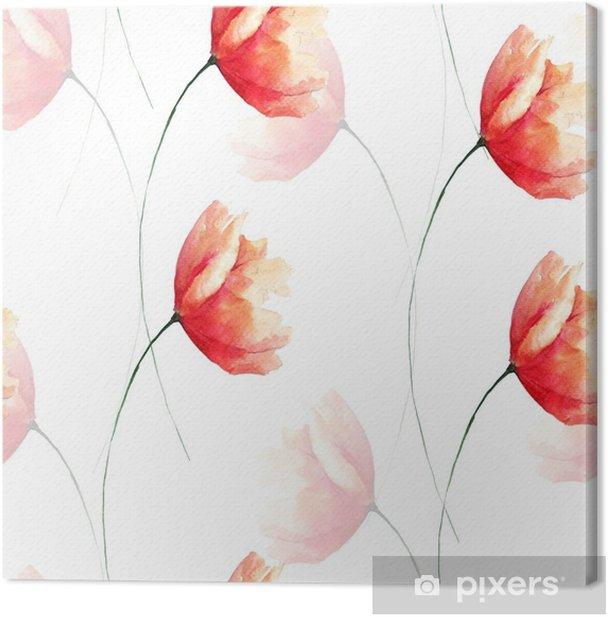 Obraz na płótnie Wzór czerwony kwiat maku - Rośliny i kwiaty