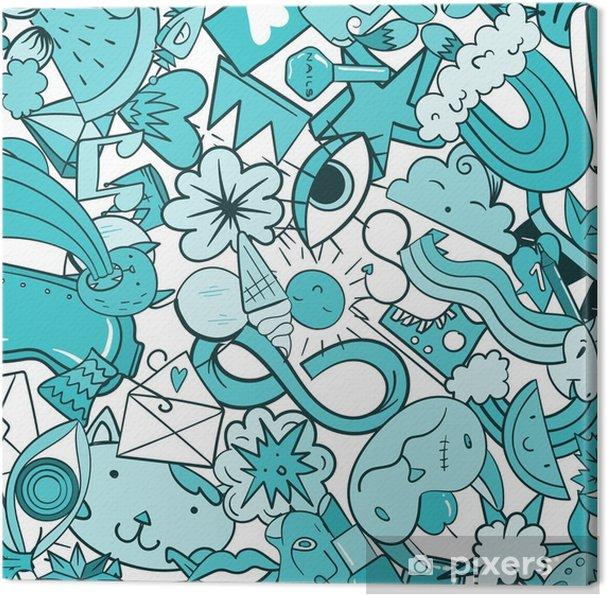 Obraz na płótnie Wzór graffiti z miejskich ikon linii życia. szalony doodle streszczenie tło wektor. modny kolaż w stylu liniowym z dziwacznymi elementami sztuki ulicznej. - Zasoby graficzne