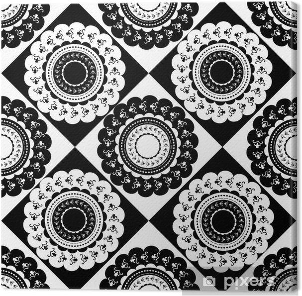 Obraz na płótnie Wzór okrągły czarny i biały ozdoby - Tła