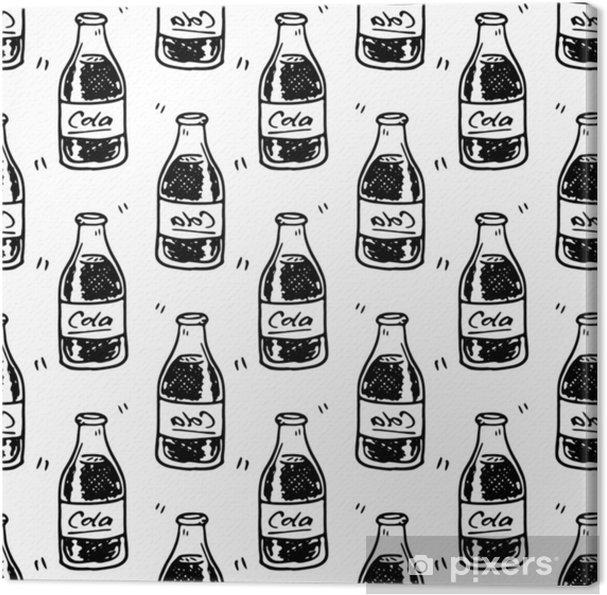 Obraz na płótnie Wzór ręcznie rysowane butelki coli. doodle czarny szkic. symbol znaku. element dekoracji. odizolowywający na białym tle. Płaska konstrukcja. ilustracji wektorowych - Napoje
