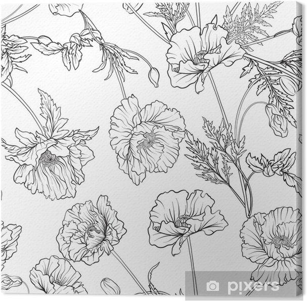 Obraz na płótnie Wzór z kwiatami maku w botanicznym stylu vintage. zarys strony rysunku kolorowanki dla dorosłych kolorowanka. ilustracji wektorowych linii czasowej. - Rośliny i kwiaty