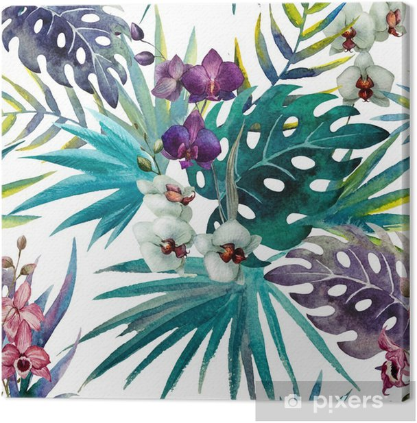 Obraz na płótnie Wzór z liśćmi hibiskusa i orchidei, akwarela - iStaging