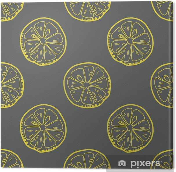 Obraz na płótnie Wzorzec z plasterki cytryny na szarym tle. - Do kuchni