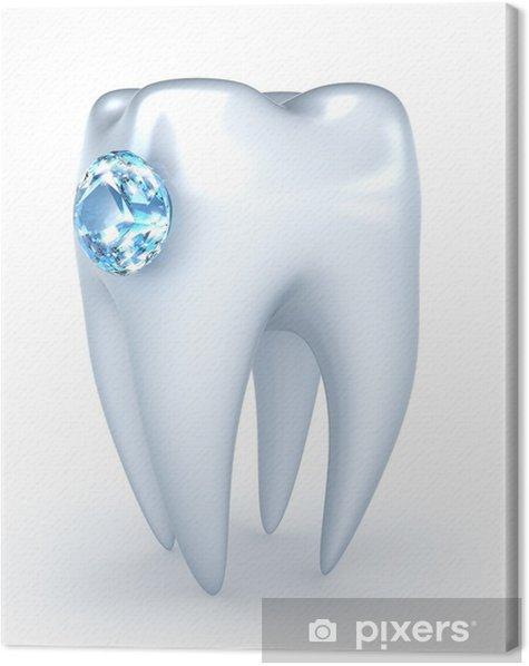 Obraz na płótnie Ząb z niebieskim diamentem, na białym - Zdrowie i medycyna