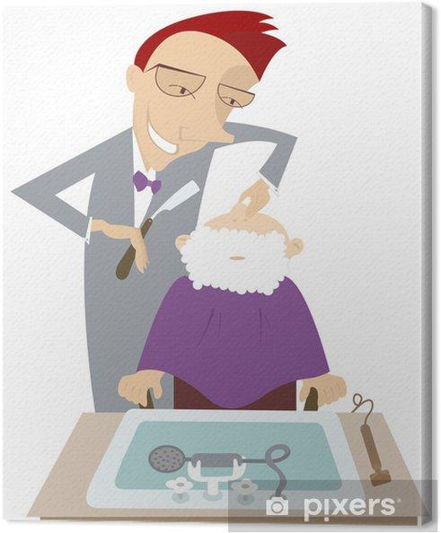 Obraz na płótnie Zabawne kreskówki fryzjer goli klienta - Uroda i pielęgnacja ciała