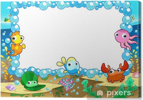 Obraz na płótnie Zabawnych karty z puste miejsce dla tekstu. - Zwierzęta żyjące pod wodą