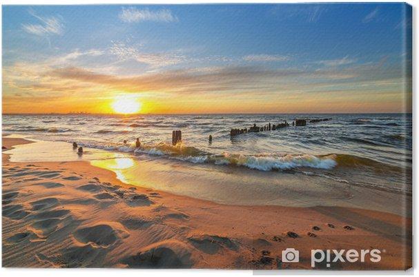 Obraz na płótnie Zachód słońca na plaży w Morzu Bałtyckim w Polsce - Tematy
