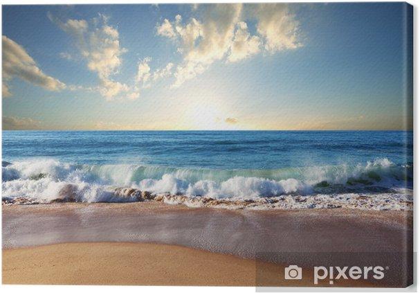 Obraz na płótnie Zachód słońca na plaży - Natura