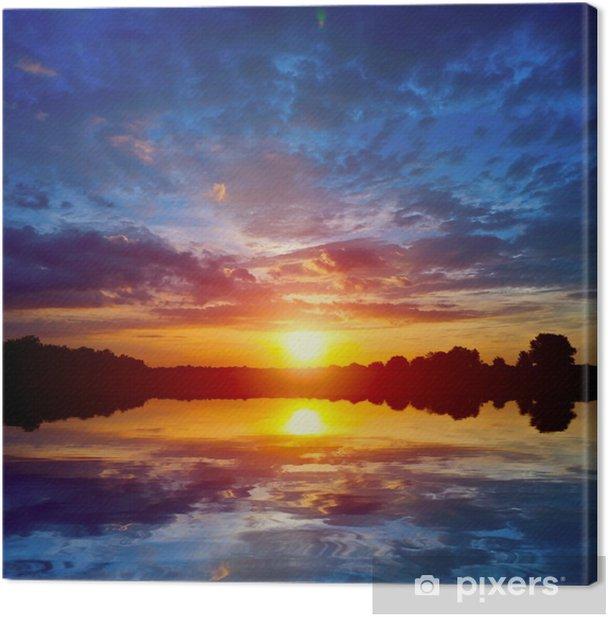 Obraz na płótnie Zachód słońca nad jeziorem - Krajobraz wiejski