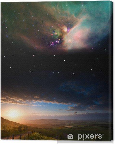 Obraz na płótnie Zachód słońca pejzaż wiejski z planet w nocnym niebie Elements - Gwiazdy