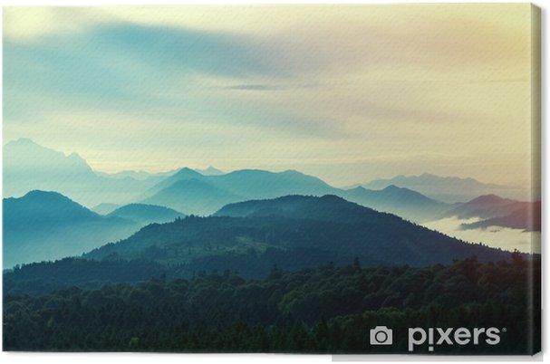Obraz na płótnie Zachód słońca w górach - Krajobrazy