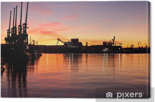 Obraz na płótnie Zachód słońca w Stoczni Gdynia SA - Tematy