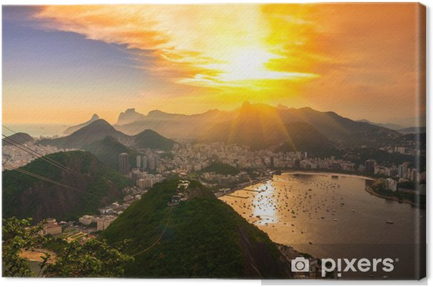 Obraz na płótnie Zachód słońca widok z Corcovado i Botafogo w Rio de Janeiro. Brazylia - Ameryka