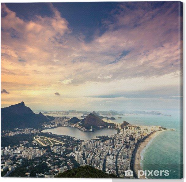 Obraz na płótnie Zachód słońca widok z lotu ptaka Rio de Janeiro, Brazylia - Tematy