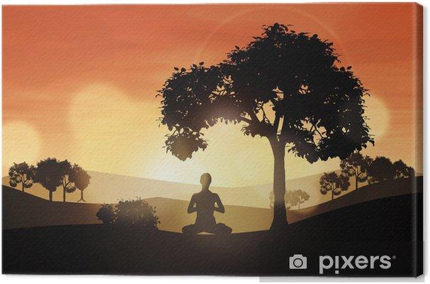 Obraz na płótnie Zachód Yoga - Góry