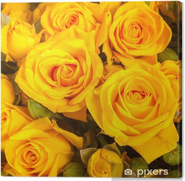 Obraz na płótnie Zamknąć się żółte róże na rynku - Kwiaty