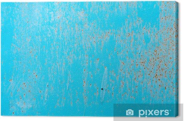 Obraz na płótnie Zardzewiały metal tle niebieskie poziome - Surowce