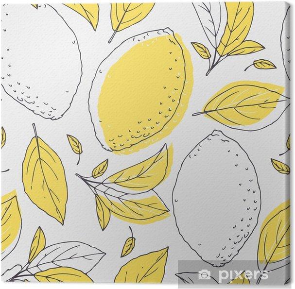 Obraz na płótnie Zarys szwu z ręcznie rysowane cytryny i liści. Doodle owoce na opakowaniu lub projektowaniu kuchni - Zasoby graficzne