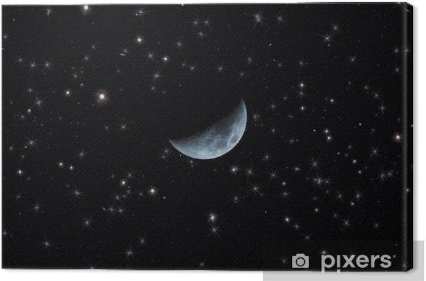Obraz na płótnie Zbliżenie księżyca na tle rozgwieżdżonego nieba. - Przestrzeń kosmiczna