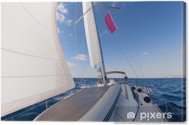 Obraz na płótnie Żeglarstwo widok z przodu łodzi na morzu - Sporty wodne