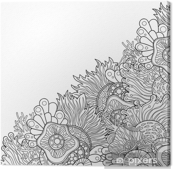Obraz Na Płótnie Zentangle Style Invitation Card Doodle Wavy Frame Design For Card Decorative Abstract Element Border