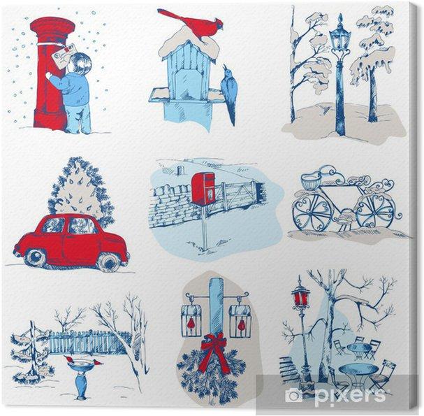 Obraz na płótnie Zestaw elementów Bożego Narodzenia - do projektowania i notatnik - w wektorze - Święta międzynarodowe
