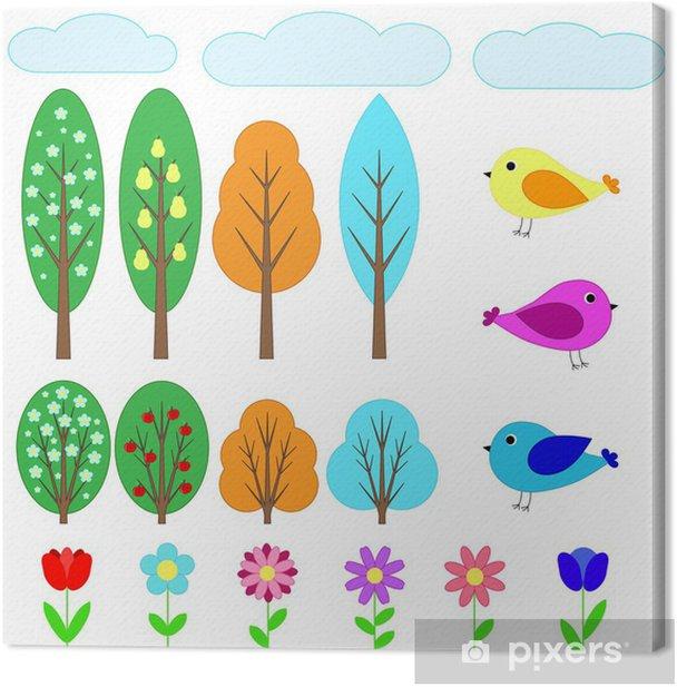 Obraz na płótnie Zestaw elementów notatniku - Ptaki