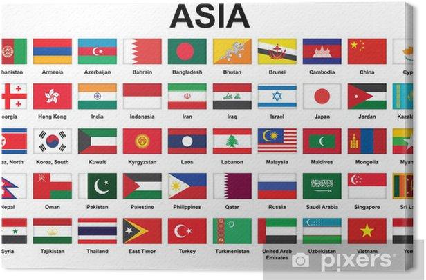 Obraz na płótnie Zestaw ikon z Flagi państw azjatyckich - Azja