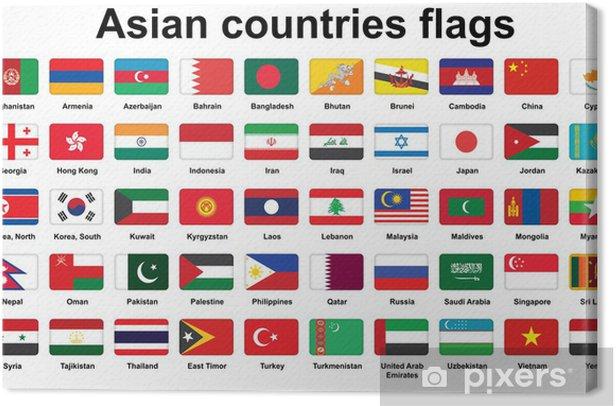 Obraz na płótnie Zestaw krajach azjatyckich flagi ikony z zaokrąglonymi narożnikami - Znaki i symbole