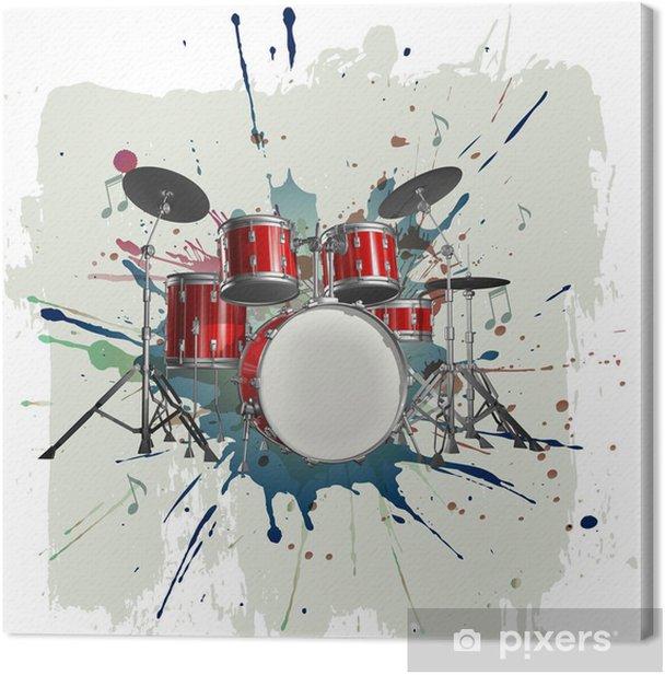 Obraz na płótnie Zestaw perkusyjny na tle grunge - Jazz
