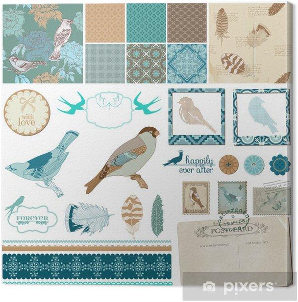 Obraz na płótnie Zestaw projektu Scrapbook - Vintage ptaki i piór - w wektorze - Pory roku