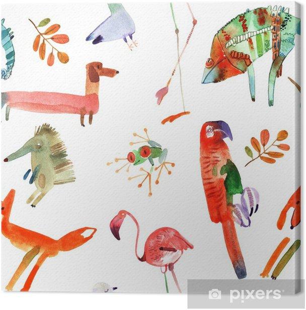 Obraz na płótnie Zestaw zwierząt akwarela - Zwierzęta