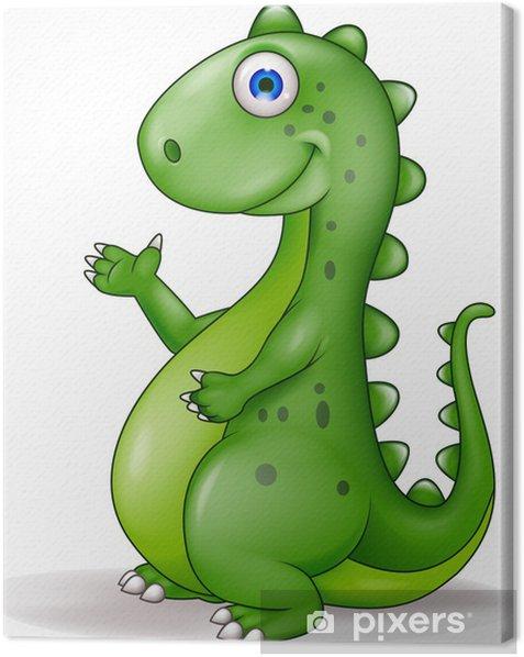 Obraz na płótnie Zielona cartoon dinozaur - Naklejki na ścianę