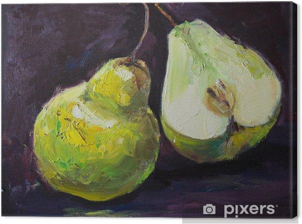 Obraz na płótnie Zielone gruszki, jedna całość i jedna połowa, na czarnym tle, oryginalny obraz olejny martwa natura na płótnie - Jedzenie